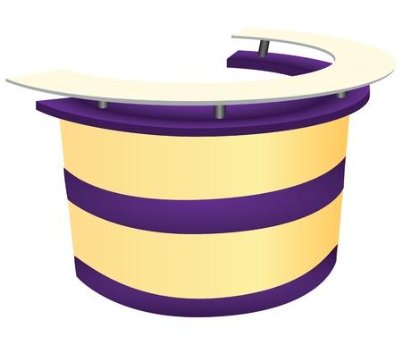 mobiliario de oficina: El mostrador de recepci�n para recibir a los clientes. ilustraci�n.