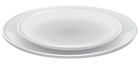 plate of food: A set of dining plates. Table setting.  illustration.