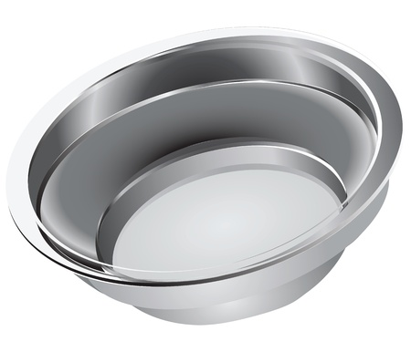 Steel bowl for domestic use and feeding pets.  illustration. Ilustração
