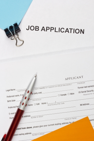 Directly above photograph of a job application. Stock Photo - 16939367