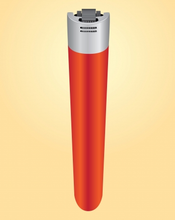 cigarette lighter: Cigarrillo encendedor de pl�stico rojo. Vector ilustraci�n. Fumadores.
