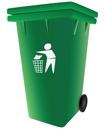 Green plastic garbage container with a lid. Vector illustration. Stock Vector - 16954220