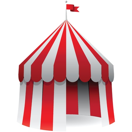Circus awning with a red flag on the roof.  illustration.