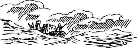 fishing boat: 낚시 보트 그림입니다. 일러스트