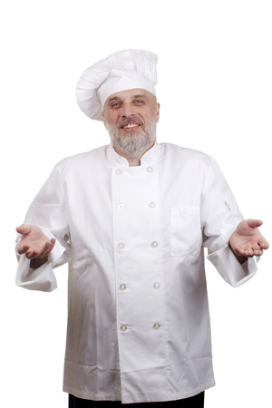 Portrait of a caucasian chef in his uniform on a white background. Stock Photo - 16980971