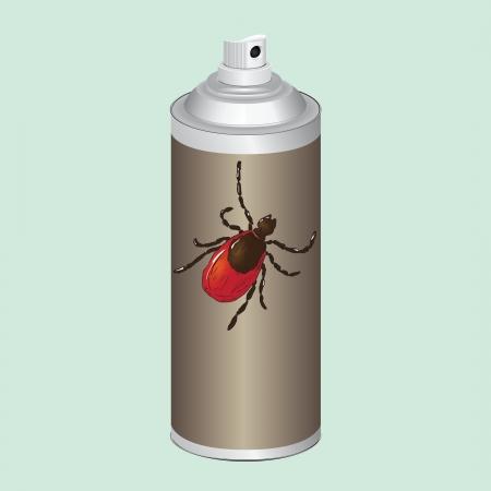 곤충, 진드기를 통제하기위한 스프레이. 삽화. 일러스트