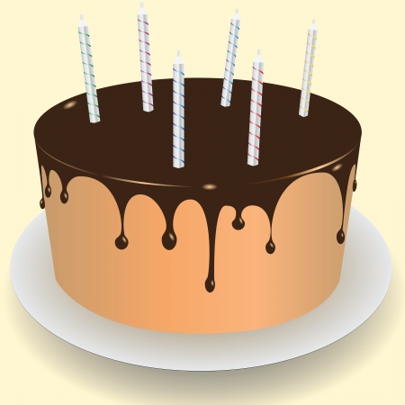 Cake with chocolate frosting and holiday candles. Vector illustration. Ilustração