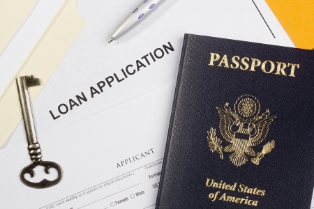 Directly above photograph of a loan application. Stock Photo - 17031284