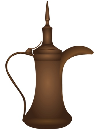 Antique bronze coffee pot with a lid. Vector illustration.