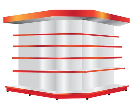 Commercial shelving for trade and exhibition companies. Vector illustration.