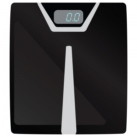 weigher: Bathrooom scales for weight of the human body Illustration