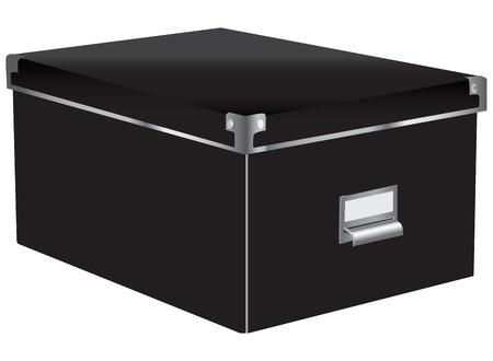 Black box office bestanden met deksel. Vector illustratie. Stock Illustratie