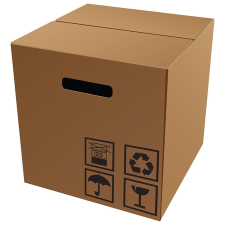 storage: Cardboard packaging with symbols for transport and storage. Vector illustration.