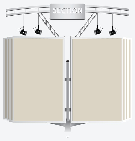 Advertising billboard with lights in the form of books. Ilustrace