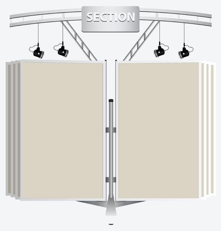 Reclamebord met verlichting in de vorm van boeken.