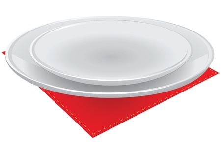 A set of plates on a red table cloth.