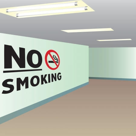 office building: Office corridor with the words do not smoke.