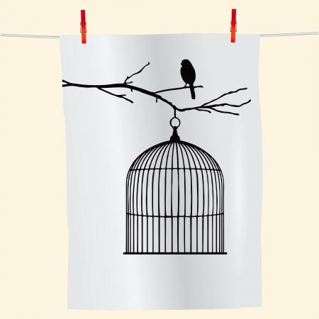 gabbie: Il ramo con l'uccello e una gabbia vuota sul tessuto. Vettoriali