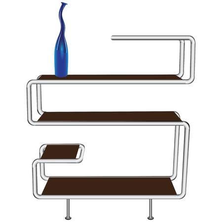 flange: Office shelf with a decorative vase. Illustration