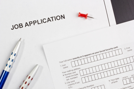 Directly above photograph of a job application. Stock Photo - 17143475
