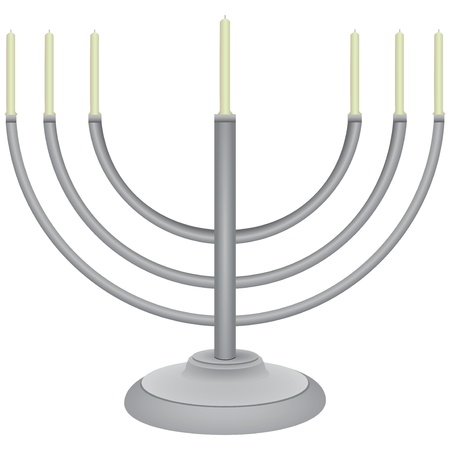The symbol of the Jewish faith - a menorah. Vector illustration.