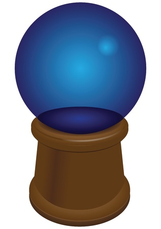 Crystal ball on a wooden stand. Vector illustration. Ilustração
