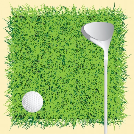 Putter and golf ball on grass. Vector illustration.