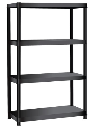 Industrial shelving unit with four shelves. Vector illustration.