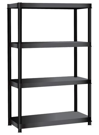 shelving: Industrial shelving unit with four shelves. Vector illustration.