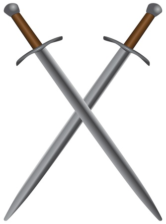 A set of double-edged swords medieval. Vector illustration.