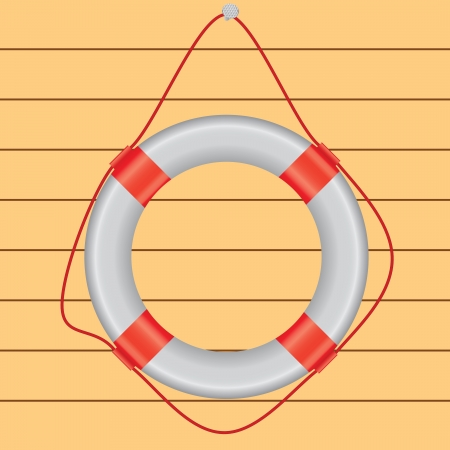 White life preserver hanging on a nail, a wooden wall. Vector illustration.