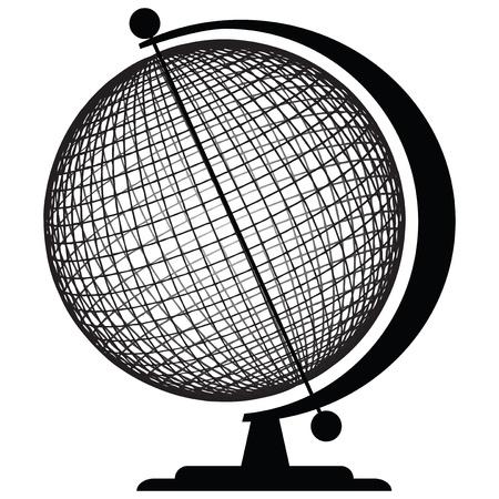 zeměpisný: Geografické nástroje - Globe. Sphere stanovena ve stánku. Vektorové ilustrace.