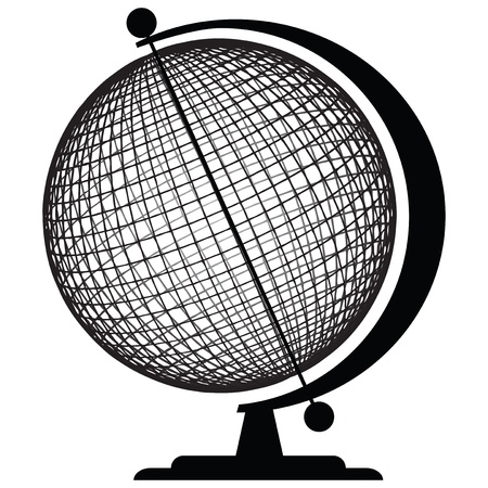 Geographic tools - Globe. Sphere fixed in a stand. Vector illustration.