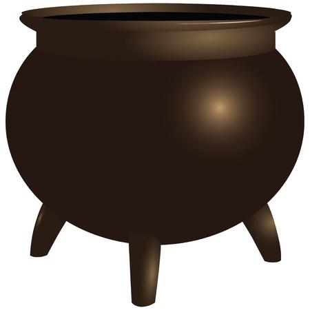 antiquities: Vintage heavy cast-iron pot with legs. Vector illustration.