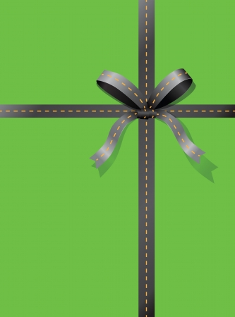 Bow and ribbon in the form of roads. Vector illustration.