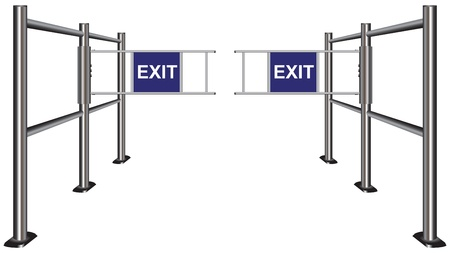 wicket gate: Turnstile indicating the direction of the exit. Vector illustration.