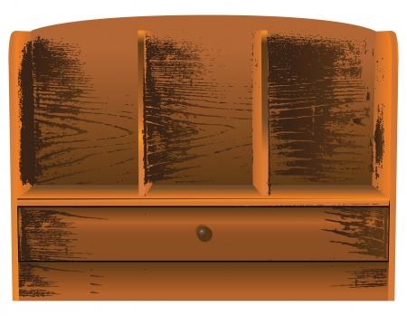 flange: Antique wall shelf with drawer. Vector illustration. Illustration