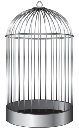 cage: The cylindrical cage for birds. Vector illustration. Illustration