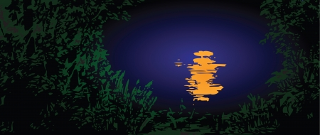 Moonlit path on the water. Vector illustration. 向量圖像