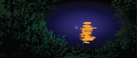night: Moonlit path on the water. Vector illustration. Illustration