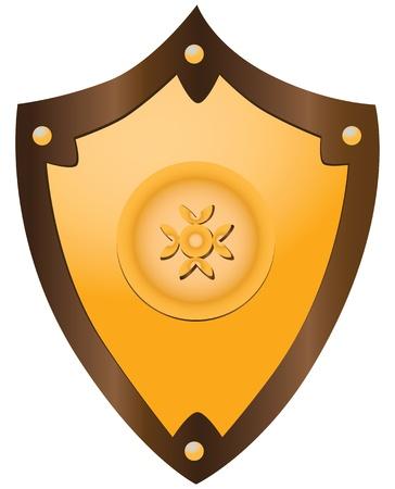 Gilded medieval heraldic shield shaped ornament. Stock Vector - 17351815