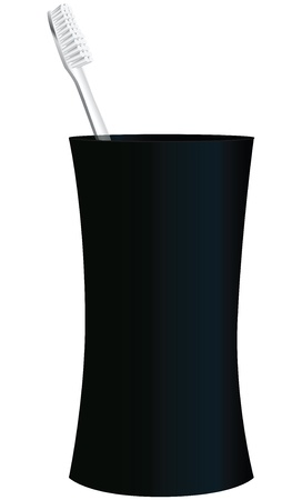 Black plastic cup with a toothbrush.