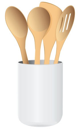 A set of wooden kitchen spoons in a ceramic cup. Vector illustration. Stock Vector - 17375487