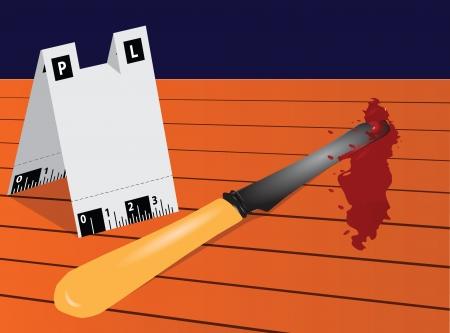 bony: Antique knife in blood from the crime scene. Vector illustration.