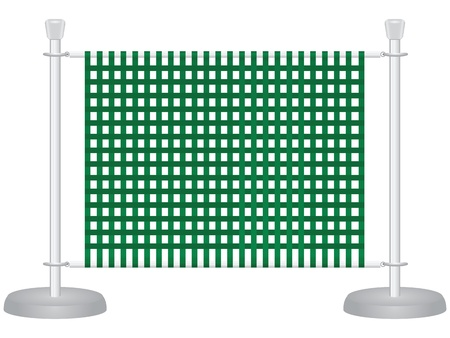 Steel barrier with a tight mesh fabric. Vector illustration.