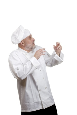 Portrait of a caucasian chef in his uniform on a white background. Stock Photo - 17387132