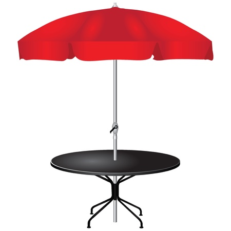 red umbrella: For an outdoor coffee table with an umbrella.