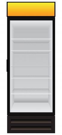Commercial refrigerator to store drinks and perishables.  Vector