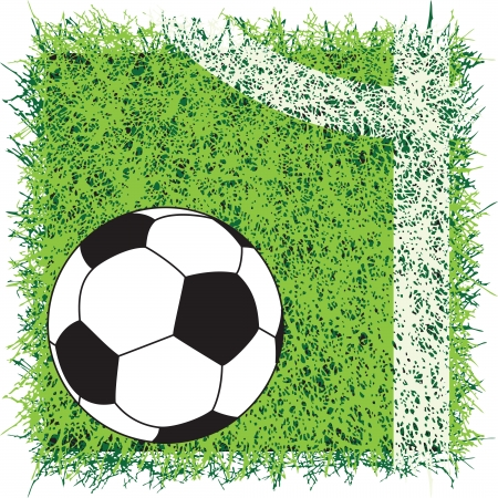 Soccer ball on the field with a marking illustration.