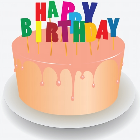happy birthday vector: Cake with the words Happy Birthday. Vector illustration. Illustration